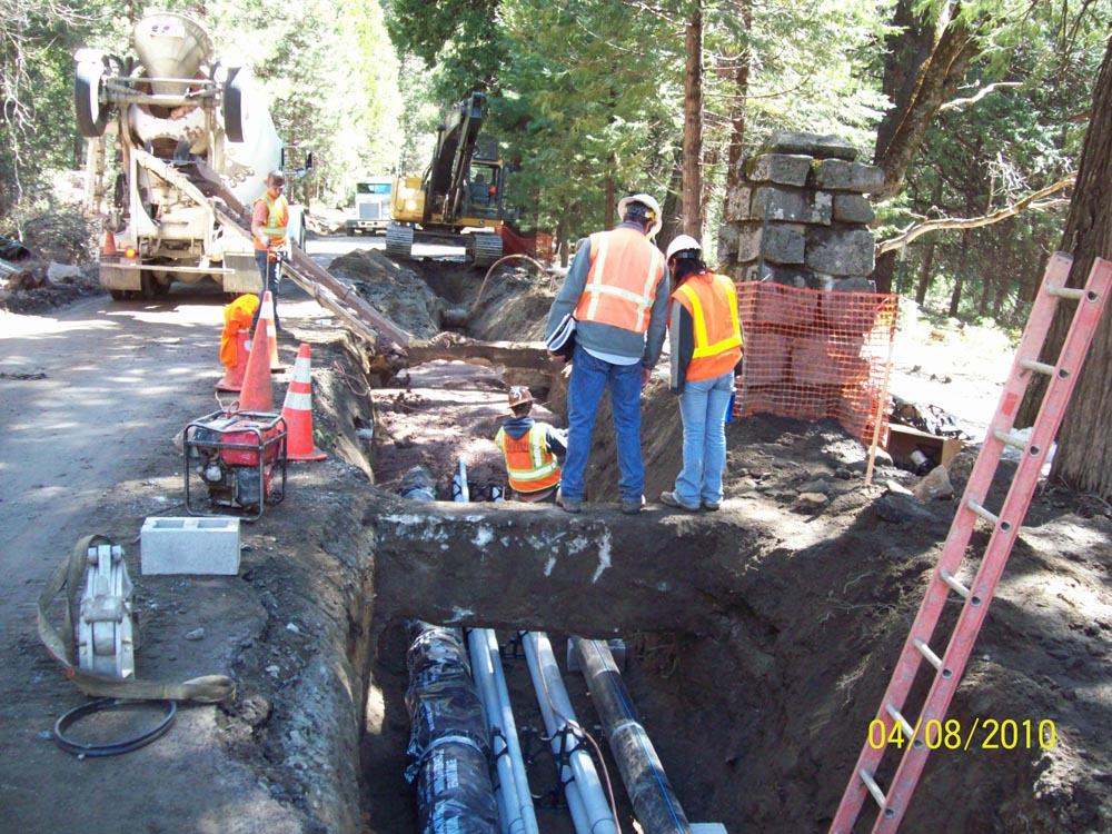 Installing utility corridor at Ahwahnee guard shack #4